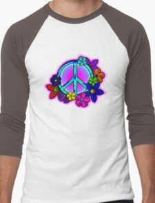 Peace Love and Flowers Tee Men's Baseball ¾ T-Shirt