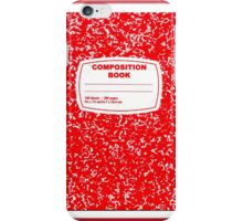 Red Composition Notebook iPhone Case/Skin