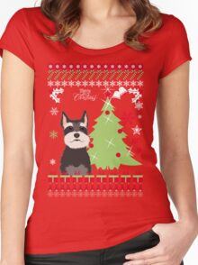 Schnauzer Ugly Christmas Sweater Women's Fitted Scoop T-Shirt