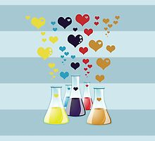 Glass Lab Bottle Red Blue Yellow Purple Hearts by sitnica
