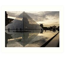 Paris - Louvre Pyramid Reflecting in the Fountain's Pool Art Print