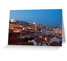 Lisbon City Lights Panoramic Alfama View Greeting Card