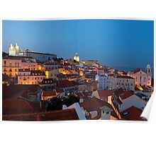 Lisbon City Lights Panoramic Alfama View Poster