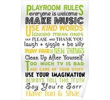 Playroom Rules Subway Art Poster Poster