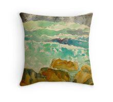 the wild green ocean Throw Pillow