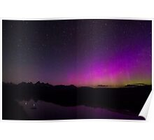 Northern Lights Over Tetons and Water Poster