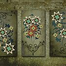 Floral Grunge Triptych by Cherie Balowski