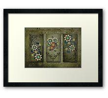 Floral Grunge Triptych Print Framed Print