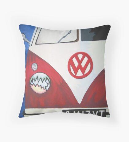 Red VW camper van Throw Pillow