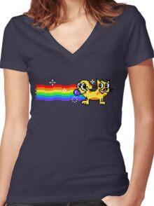 Nyan CatDog Women's Fitted V-Neck T-Shirt