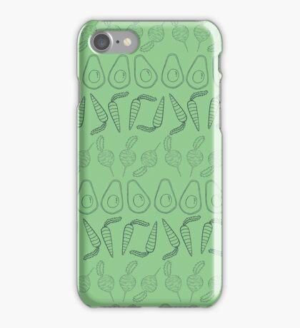 Eat your Veggies- Light Green/Dark Blue iPhone Case/Skin