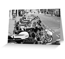 Stylish Black and White Picture of Mopeds Greeting Card