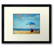 Special Moments - beach scene original oil painting Framed Print
