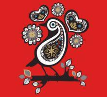 Scandinavian meets paisley bird hearts flowers One Piece - Short Sleeve
