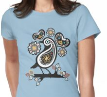 Scandinavian meets paisley bird hearts flowers Womens Fitted T-Shirt