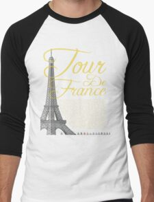 Tour De France Eiffel Tower Men's Baseball ¾ T-Shirt