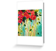 ROSE RAGE Acrylic Painting Stunning Summer Floral Abstract Flower Bouquet Feminine Pink Turquoise Lime Nature Art Greeting Card