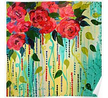 ROSE RAGE Acrylic Painting Stunning Summer Floral Abstract Flower Bouquet Feminine Pink Turquoise Lime Nature Art Poster