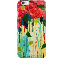 ROSE RAGE Acrylic Painting Stunning Summer Floral Abstract Flower Bouquet Feminine Pink Turquoise Lime Nature Art iPhone Case/Skin