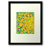 SPRING SPLASH Abstract Acrylic Painting Bright Cheerful Lime Sunshine Yellow Lavender Lilac Purple Ocean Beach Waves Framed Print