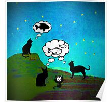 Cats Dream At Twilight Poster