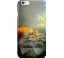 Sunsets, clouds approach the Limestone Rock Stacks iPhone Case/Skin
