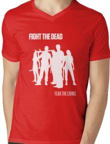 Fight the Dead T-Shirt [White Stencil] Mens V-Neck T-Shirt