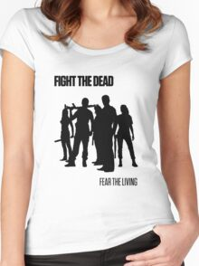 Fight the Dead T-Shirt [Black Stencil] Women's Fitted Scoop T-Shirt