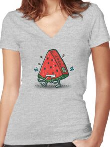 Watermelon Bot Women's Fitted V-Neck T-Shirt