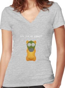 Are You My Gummy (White Text) Women's Fitted V-Neck T-Shirt