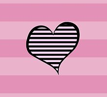 Artistic Retro Heart Stripes Lines Pink Black by sitnica