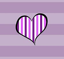 Artistic Retro Heart Stripes Lines Purple White by sitnica