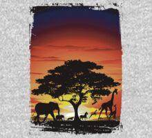 Wild Animals on African Savannah Sunset  Kids Clothes