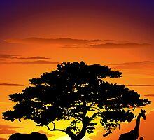 Wild Animals on African Savannah Sunset  by BluedarkArt