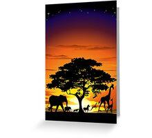 Wild Animals on African Savannah Sunset  Greeting Card