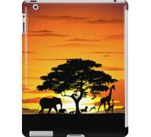Wild Animals on African Savannah Sunset  iPad Case/Skin