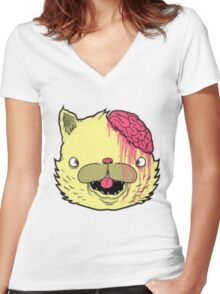 brains cat Women's Fitted V-Neck T-Shirt