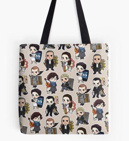 Sherlock Chibis All Over (Warm) Tote Bag