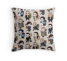 Sherlock Chibis All Over (Warm) Throw Pillow