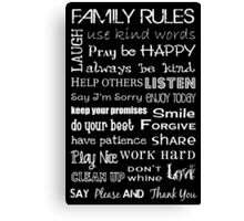Family Rules Subway Art Poster Canvas Print