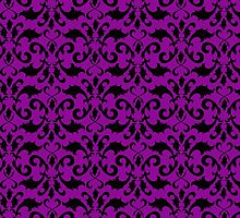 Royal Damask, Ornaments, Swirls - Purple Black by sitnica