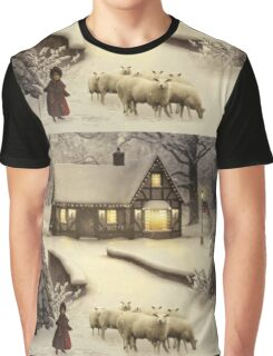 Girl Playing With Sheep Graphic T-Shirt