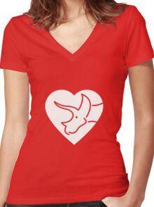 Dinosaur heart: Triceratops Women's Fitted V-Neck T-Shirt