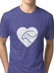 Dinosaur heart: Parasaurolophus Tri-blend T-Shirt