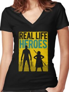 Real Life Heroes (V.1) Women's Fitted V-Neck T-Shirt