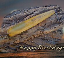 Happy Birthday Greeting Card - Vintage Atom Saltwater Fishing Lure by MotherNature