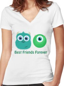 Best Friends, Mike and Sully Women's Fitted V-Neck T-Shirt