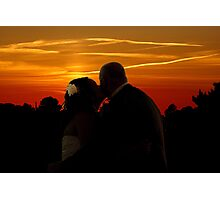 Bride an Groom romantic sunset  Photographic Print