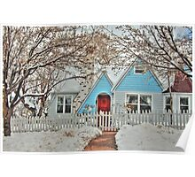 Snowy Cottage In The Spring Poster