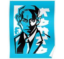 Kafka portrait in Blue & Black Poster